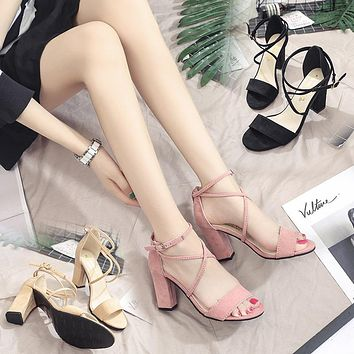 WRAP STRAPS BLOCK HEEL SANDALS