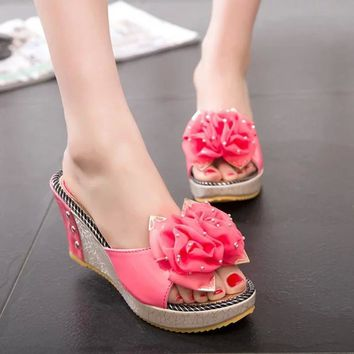 2017 Summer Women Mules Clogs Comfortable Flower fish Mouth Wedge Sandals Female Casu