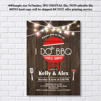 I Do BBQ Invitations, Wedding Shower Invites, Couples Shower BBQ, Wedding Shower BBQ Chalkboard, Engagement Party, Bridal bbq - card 1104