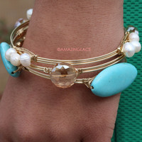 Arm Charm Pearl & Turquoise Bangle Set