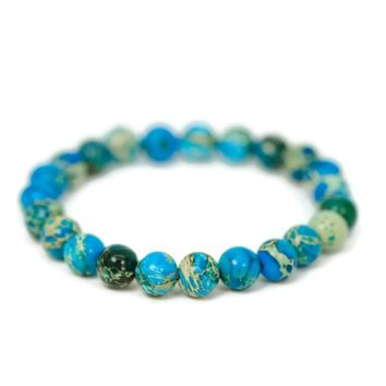 Natural Blue Imperial Jasper Stone Bead Stretch Bracelet