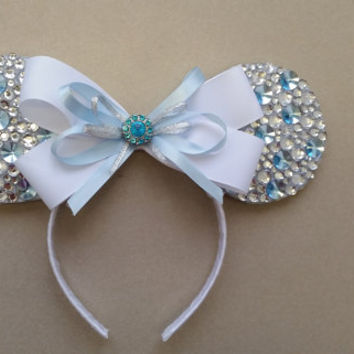 """Silver and Blue """"Diamond Collection"""" Mickey / Minnie Mouse Ears"""