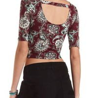 Burgundy Cmb Paisley Print Bar-Back Crop Top by Charlotte Russe