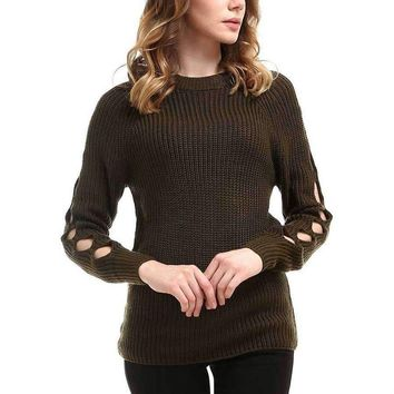 Cold Shoulder Open Sleeve Sweater