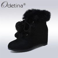 Odetina 2017 New Hidden Heel Wedge Ankle Boots Lace Up Faux Suede Real Rabbit Fur Snow Boots Women Winter Warm Shoes Big Size 43