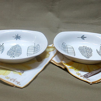 1950s Soup Salad Bowls 2 Nature Study by Midwinter Staffordshire England Designed by Terance Conran