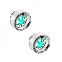 Steel Plug Double Flare With Pot Leaf Disc For Internally Threaded Plugs - Sold as a Pair