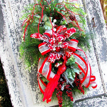 Wreath for Christmas, holiday swags, front door swag, holiday wreath, Christmas cottage decor, winter wreath, shabby chic wreath, red swag