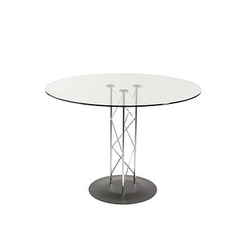 """Trave 32"""" Round Dining Table in Clear Tempered Glass with Chrome Column and Black Base"""