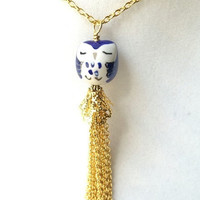 Blue & White Spotted Owl and Long Gold Chain Tassel Layering Necklace