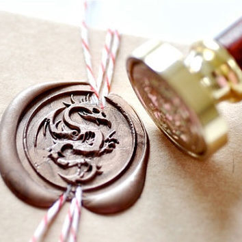 Dragon  Gold Plated Wax Seal Stamp x 1
