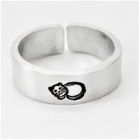 Cat ring, pet mom, personalized ring, adjustable ring, animal jewelry, aluminium ring, hand stamped ring, handstamped ring, silver ring