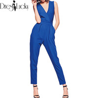 2016 fashion sexy elegant jumpsuit sleeveless slim blue playsuit women rompers jumpsuit female summer v-neck overalls bow zipper