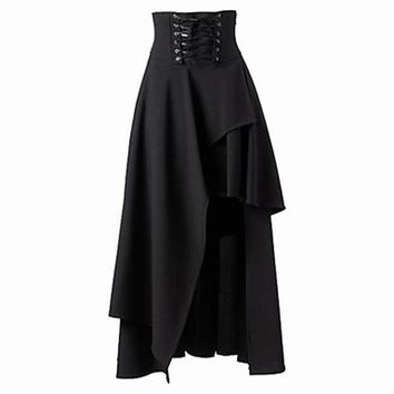 Fashion Women's dress Women Punk Rock Retro Clothing Gypsy Solid Colors Black Female Irregular Lace-Up Black dress Ladies 817196
