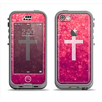 The Vector White Cross v2 over Unfocused Pink Glimmer Apple iPhone 5c LifeProof Nuud Case Skin Set