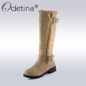 ODETINA - New Winter Warm Vintage Inspired Buckle Knee High Boots*