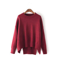Red Folded Sleeve Knitted Sweatshirt
