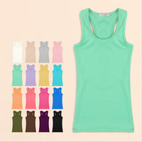 Womens Tank Top 2015 Summer Women Sexy Cotton Solid Tanks Camisole Fitness Women Vest Tops T Shirt  Basic Cami Blusas