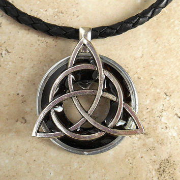 Triquetra Necklace: Black - Mens Jewelry - Leather Cord - Celtic Jewelry - Mens Necklace - Irish Jewelry - Boyfriend Gift - Fathers Day
