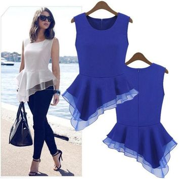 LMFUG3 Ladies Peplum Irregular Tank Tops Frill Fitted Shirt Party Tails Blouse  18726