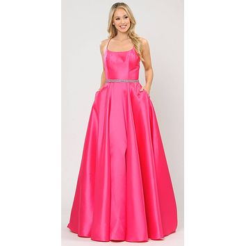 Fuchsia Long Prom Dress with Criss-Cross Lace-Up Back