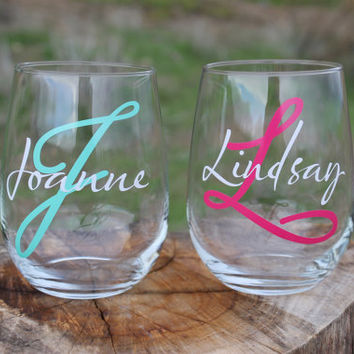 Set of 2 Personalized Stemless Wine Glasses - Wedding Party Gifts - Girls Weekend - Bachelorette Party -Bridesmaid Gifts