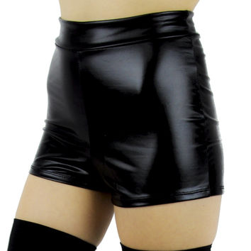 Black PVC Vinyl High Waisted Shorts
