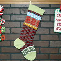 Christmas Stocking, Hand Knit, Fair Isle, with Soft Fern Green Cuff and Rouge Red Flowers, can be personalized, shower gift, housewarming