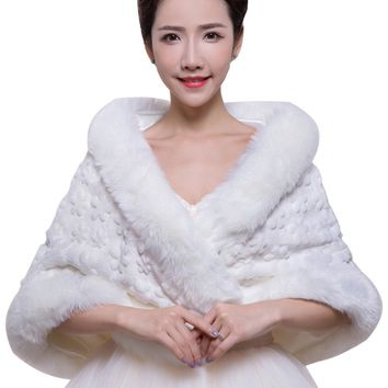 In Stock Wedding Accessory Faux Fur Black White Custom Made Bridal Coat Wedding Bolero Stoles Jacket Shrug Wraps LF36
