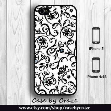 Lace Floral Print iPhone 5 Case iPhone 4S Case Hard Case Flowers black and white pattern Painting Art Designer iPhone 5 Back Cover --000077