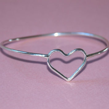 Love Bracelet , Bangle, Heart , Sterling Silver Bracelet Teen Girls, Women