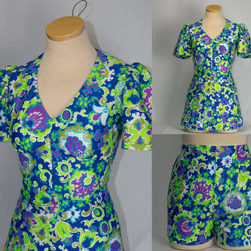 Vintage 1970's Romper Dress Shorts Set Flower Power Mini Cuteness!