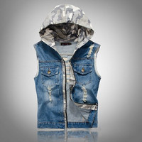 Men's Slim Fit Camouflage Hoodie Jeans Denim Vest Outwear