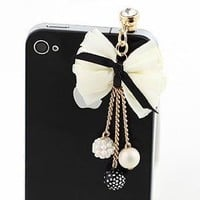 Earphone Jack Plated Gold Beige Bow Colored Small Beads / Cell Charms / Dust Plug / Ear Jack For Ip