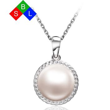 Red Trees 10-11 mm Single Pearl Pendant Necklace With 18 Inch 925 Sterling Silver Chains Best Gift For Wedding / Engagement