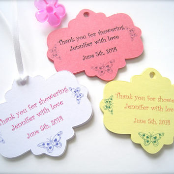 Personalized baby shower favor tags, custom shower tags, party favor tags - 30 tags