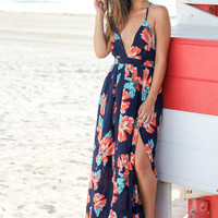 Navy and Coral Floral Print Maxi Dress