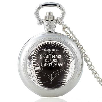 New Arrivals Silver The Nightmare Before Christmas Quartz Pocket Watch Vintage Men Women Halloween Pendant Necklace Gifts