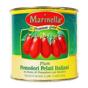 Marinella - Italian Whole Plum Peeled Tomatoes with Basil, 90 oz.