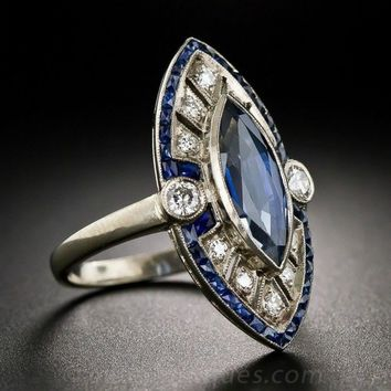 Womens Luxury .925 Sterling Silver Natural  Blue Sapphire Birthstone  Ring Size 6 7 8 9 10