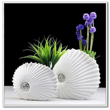 resin decorative desktop vases creative shell shaped white flower vase art large flower pot for modern home decorations