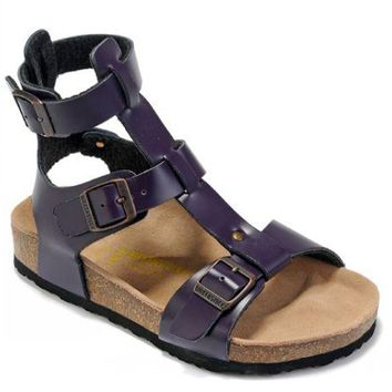 Birkenstock Chania Sandals Leather Deep Purple - Ready Stock