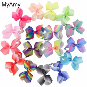 MyAmy 17pcs/lot 4.5'' grosgrain ribbon hair bows WITH alligator hair clips boutique rainbows bow girls hairbow for teens kids