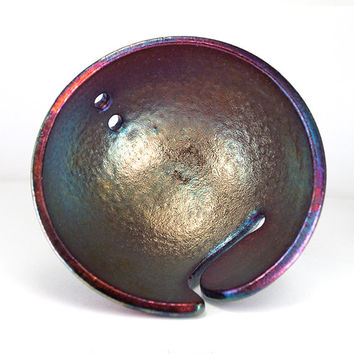 Carulean Metallic Luster Blue Byzantine Knitting Bowl ALON Raku Pottery Knitting Help Knitting Accessories Ceramic Handmade YB1338