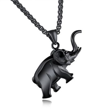 Elephant Animal Unique Pattern Necklace For Men Jewelry Hip Hop Stainless Steel Male Chain Pendant Gift