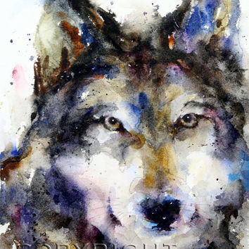 WOLF Extra Large Watercolor Print by Dean Crouser