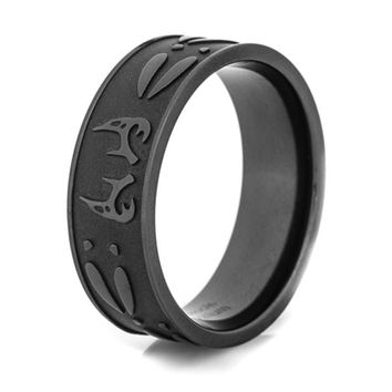 Black Deer Antler & Tracks Titanium Ring