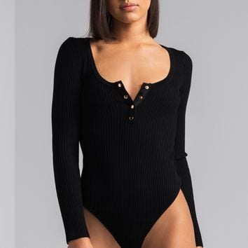 AKIRA Ribbed Knit Long Sleeve V Neck Bodysuit in Black