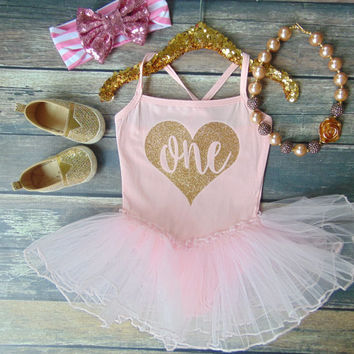 Gold Glitter Birthday Light Pink Leotard with Tutu - Spaghetti Strap One Piece Leotard Dress - Toddler Second Birthday - Girl Birthday Oufit