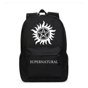 Supernatural SPN Backpack school bag Black Bag